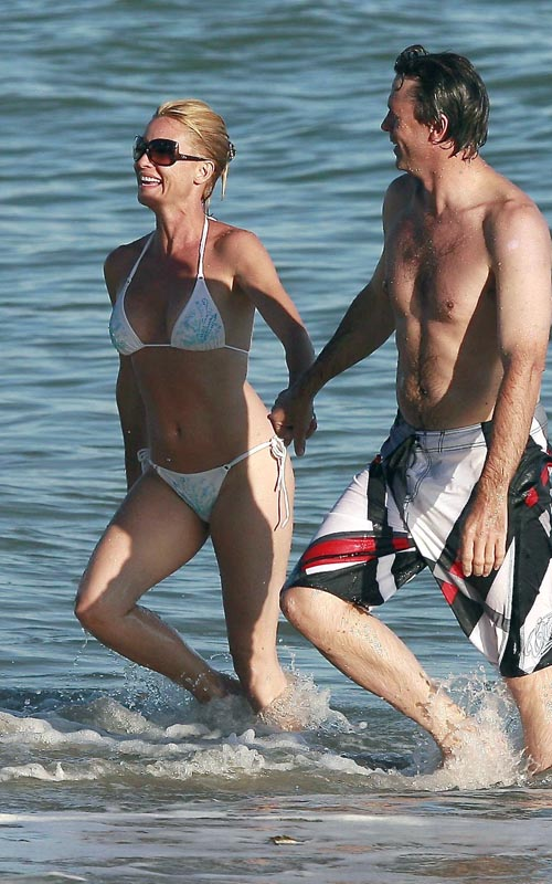 Nicollette Sheridan And Steve Pate On The Beach In Malibu