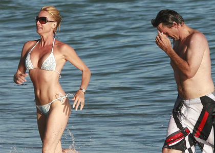 Nicollette Sheridan And Steve Pate On The Beach In Malibu